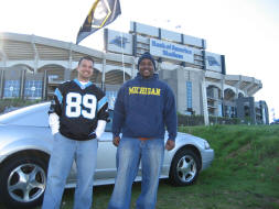 Standing in front of Bank of America Stadium
