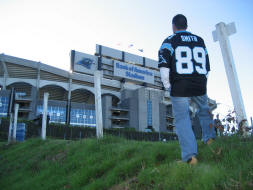 Approaching Bank of America Stadium