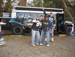 Panther fans party prowler tailgating bus