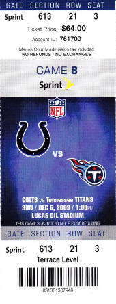 Buy Cheap Indianapolis Colts Tickets 2009