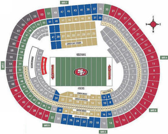 Candlestick Park Seating Chart - San Francisco 49ers