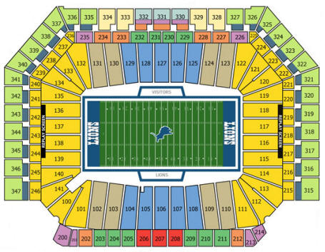 Ford Field Stadium Seating Chart