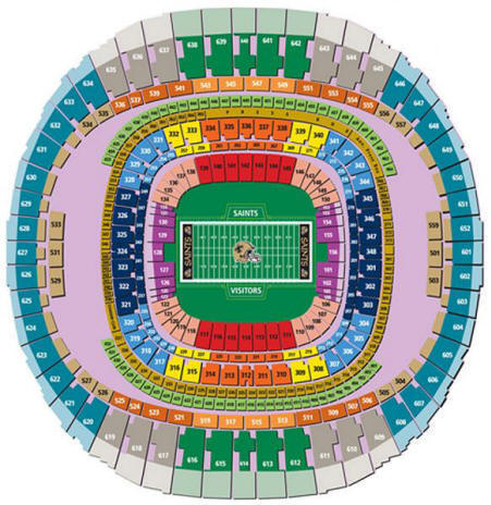 New orleans saints seating chart vipseats com mercedes for Mercedes benz dome seating chart