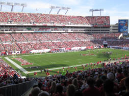Shaded side of Raymond James Stadium